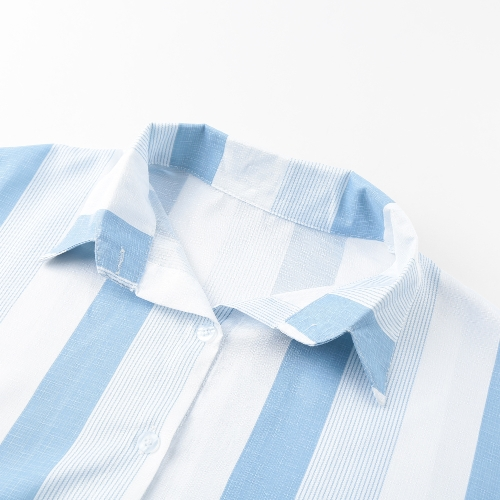 Women Stripe Blouse Shirt Turn-down Collar Half Sleeve Loose Casual Short Top Blue/PinkApparel &amp; Jewelry<br>Women Stripe Blouse Shirt Turn-down Collar Half Sleeve Loose Casual Short Top Blue/Pink<br>