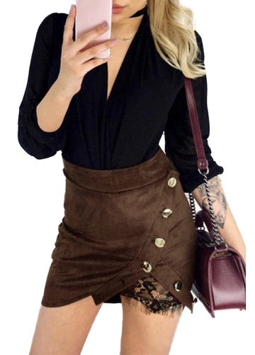 Fashion Women Faux Suede High Waist Skirt Lace Splice Button Vintage Preppy Bodycon Mini SkirtApparel &amp; Jewelry<br>Fashion Women Faux Suede High Waist Skirt Lace Splice Button Vintage Preppy Bodycon Mini Skirt<br>