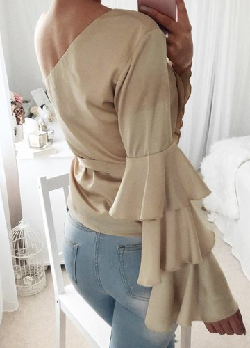 Women Satin Blouse Top Tie Waist One Shoulder Ruffle Sleeves Elegant Casual Shirt Red/BeigeApparel &amp; Jewelry<br>Women Satin Blouse Top Tie Waist One Shoulder Ruffle Sleeves Elegant Casual Shirt Red/Beige<br>