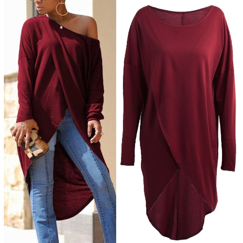 Women Tops Loose One Shoulder Round Neck Asymmetric Cross Over Dipped Longer Back Irregular Long Sleeve T-ShirtApparel &amp; Jewelry<br>Women Tops Loose One Shoulder Round Neck Asymmetric Cross Over Dipped Longer Back Irregular Long Sleeve T-Shirt<br>