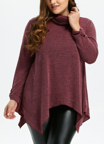 Women Turtleneck Asymmetrical Oversize Pullovers Long Sleeves Roll-up Tab Loose Sweaters Casual TopApparel &amp; Jewelry<br>Women Turtleneck Asymmetrical Oversize Pullovers Long Sleeves Roll-up Tab Loose Sweaters Casual Top<br>