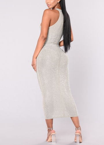 Sexy Women Sparkling Metal Dress Halter Neck Sleeveless Hollow Out Bodycon Nightclub A-Line Dress WhiteApparel &amp; Jewelry<br>Sexy Women Sparkling Metal Dress Halter Neck Sleeveless Hollow Out Bodycon Nightclub A-Line Dress White<br>