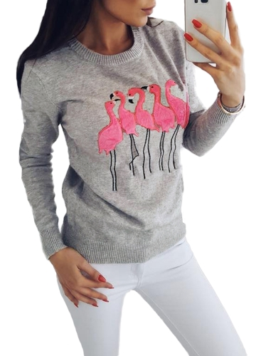 Fashion Women Embroidery Flamingo Long Sleeve Sweatshirt O Neck Casual Jumper Pullover TopsApparel &amp; Jewelry<br>Fashion Women Embroidery Flamingo Long Sleeve Sweatshirt O Neck Casual Jumper Pullover Tops<br>