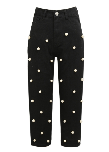 Women Pearls Denim Jeans Straight Pants High Waist Zipper Fly Casual Trousers Pants BlackApparel &amp; Jewelry<br>Women Pearls Denim Jeans Straight Pants High Waist Zipper Fly Casual Trousers Pants Black<br>