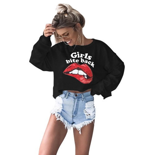 Women Red Lips T-Shirt Print Letter Sexy Crop Top O-Neck Long Sleeves Casual Tee Top Black/WhiteApparel &amp; Jewelry<br>Women Red Lips T-Shirt Print Letter Sexy Crop Top O-Neck Long Sleeves Casual Tee Top Black/White<br>