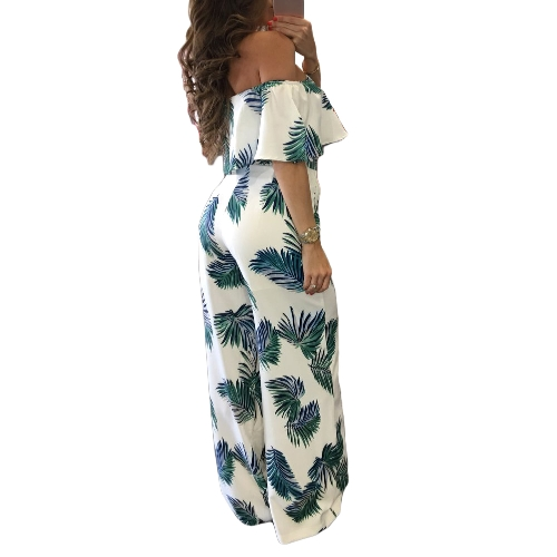 Women Off Shoulder Jumpsuit Strapless Playsuit Overalls Leaf Print Long Pants Pockets Short Sleeves Rompers Blue/Red/GreenApparel &amp; Jewelry<br>Women Off Shoulder Jumpsuit Strapless Playsuit Overalls Leaf Print Long Pants Pockets Short Sleeves Rompers Blue/Red/Green<br>