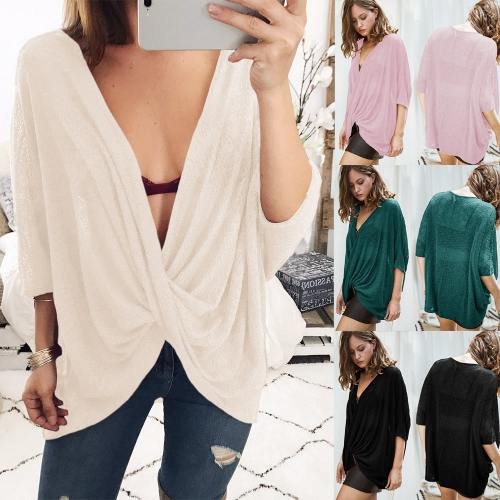 Sexy Women Loose Knitted Tops Solid Deep V Neck Cross Over Drape Irregular Batwing Sleeve Oversized BlouseApparel &amp; Jewelry<br>Sexy Women Loose Knitted Tops Solid Deep V Neck Cross Over Drape Irregular Batwing Sleeve Oversized Blouse<br>