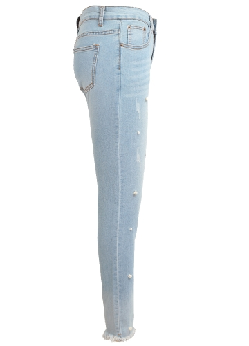 Boho Women Jeans Washed Denim Beading Faux Pearl Tassel Frayed Zipper Mid Waist Skinny Casual Pencil Pants Light BlueApparel &amp; Jewelry<br>Boho Women Jeans Washed Denim Beading Faux Pearl Tassel Frayed Zipper Mid Waist Skinny Casual Pencil Pants Light Blue<br>