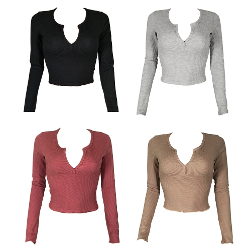 New Sexy Women Crop Top Deep V Long Sleeves Solid Color Cropped Top Tees Pullovers T-shirtApparel &amp; Jewelry<br>New Sexy Women Crop Top Deep V Long Sleeves Solid Color Cropped Top Tees Pullovers T-shirt<br>