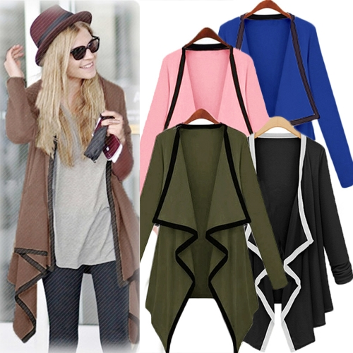 Fashion Women Long Sleeve Contrast Cardigan Open Front Asymmetric Cape Casual Poncho Coat OutwearApparel &amp; Jewelry<br>Fashion Women Long Sleeve Contrast Cardigan Open Front Asymmetric Cape Casual Poncho Coat Outwear<br>