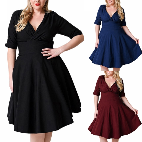 Sexy Women Plus Size Dress V Neck Half Sleeve Solid Slim Ruched Elegant Party Swing Skater Dress Large Size Burgundy / Black / DarApparel &amp; Jewelry<br>Sexy Women Plus Size Dress V Neck Half Sleeve Solid Slim Ruched Elegant Party Swing Skater Dress Large Size Burgundy / Black / Dar<br>