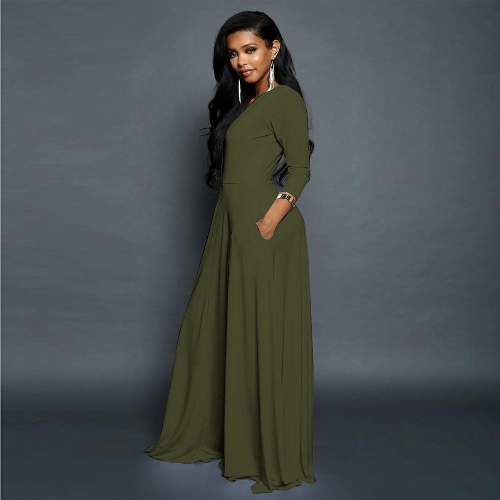 New Women Maxi Dress V Neck Three Quarter Sleeve Solid Ruched Slim Elegant Long Dress Army Green/Black/RedApparel &amp; Jewelry<br>New Women Maxi Dress V Neck Three Quarter Sleeve Solid Ruched Slim Elegant Long Dress Army Green/Black/Red<br>