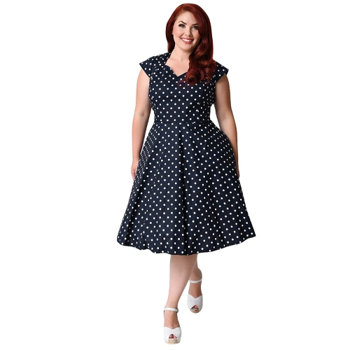 Women Plus Size Retro Polka Dot Dress 1950s 60s Rockabilly Swing Dress A-Line Party Midi Dress Black/Dark BlueApparel &amp; Jewelry<br>Women Plus Size Retro Polka Dot Dress 1950s 60s Rockabilly Swing Dress A-Line Party Midi Dress Black/Dark Blue<br>