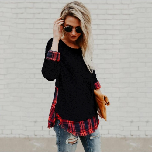 Women Plaid Shirt Long Sleeve T-Shirt Raw Hem O-Neck Pullover Casual Blouse Top Black/GreyApparel &amp; Jewelry<br>Women Plaid Shirt Long Sleeve T-Shirt Raw Hem O-Neck Pullover Casual Blouse Top Black/Grey<br>