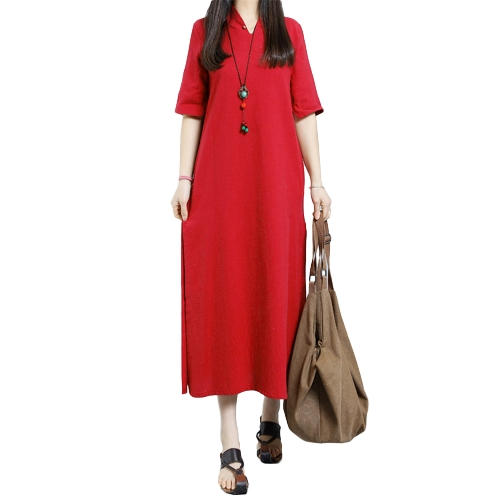 Fashion Women Plus Size Maxi Dress V Neck Keyhole Button Half Sleeve Side Slit Loose Solid DressApparel &amp; Jewelry<br>Fashion Women Plus Size Maxi Dress V Neck Keyhole Button Half Sleeve Side Slit Loose Solid Dress<br>