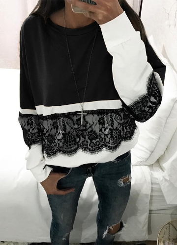 Women Loose Crochet Lace Blouse Long Sleeve Shirt Casual Tops T-Shirt Splice Sweatshirt Plus Size Pullover Black/Pink/YellowApparel &amp; Jewelry<br>Women Loose Crochet Lace Blouse Long Sleeve Shirt Casual Tops T-Shirt Splice Sweatshirt Plus Size Pullover Black/Pink/Yellow<br>