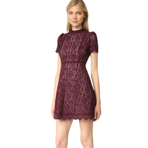 New Women Sexy Lace Dress See Through Slim Elegant Evening Party Tunic Casual Mini A-Line Dress Black/BurgundyApparel &amp; Jewelry<br>New Women Sexy Lace Dress See Through Slim Elegant Evening Party Tunic Casual Mini A-Line Dress Black/Burgundy<br>