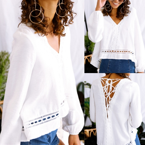 New Fashion Women Blouse V Neck Long Sleeve Crisscross Bandage Casual Loose Solid Shirt Tops WhiteApparel &amp; Jewelry<br>New Fashion Women Blouse V Neck Long Sleeve Crisscross Bandage Casual Loose Solid Shirt Tops White<br>