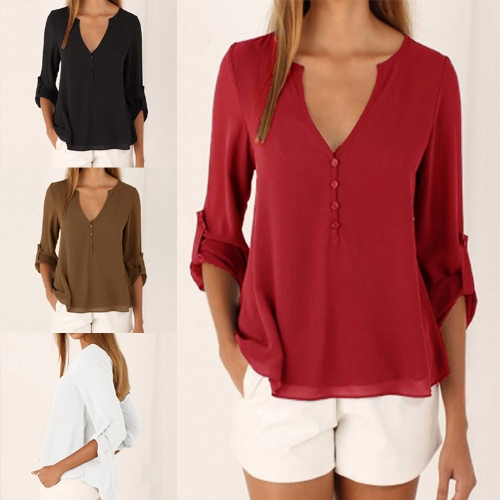 New Fashion Women Casual Chiffon Blouse V Neck Long Sleeve Button Asymmetric Solid Slim Shirt TopsApparel &amp; Jewelry<br>New Fashion Women Casual Chiffon Blouse V Neck Long Sleeve Button Asymmetric Solid Slim Shirt Tops<br>