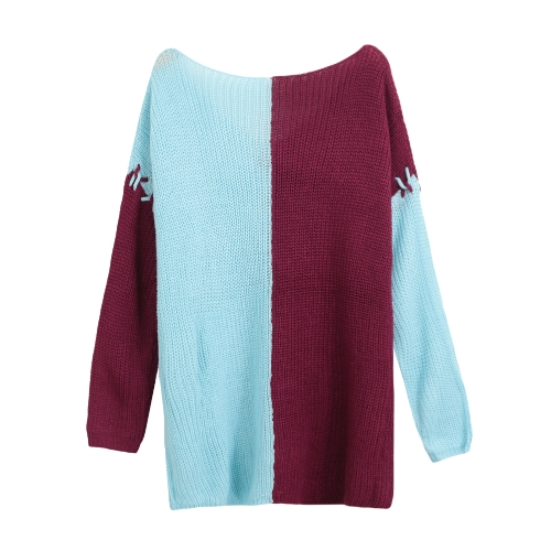 Women Knitted Sweater V-Neck Pullover Jumper Contrast Long Sleeve Loose Casual Knitting TopApparel &amp; Jewelry<br>Women Knitted Sweater V-Neck Pullover Jumper Contrast Long Sleeve Loose Casual Knitting Top<br>