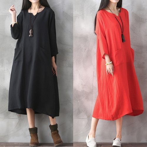 Oversized Women Retro Dress Casual Loose Long Dress Pockets Solid Plus Size Dress Black/RedApparel &amp; Jewelry<br>Oversized Women Retro Dress Casual Loose Long Dress Pockets Solid Plus Size Dress Black/Red<br>