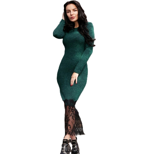 Sexy Women Lace Hem Dress Long Sleeves High Slit Side Slim Casual Party Dress Bodycon VestidosApparel &amp; Jewelry<br>Sexy Women Lace Hem Dress Long Sleeves High Slit Side Slim Casual Party Dress Bodycon Vestidos<br>