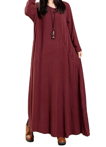 Vintage Women Dress Solid Cotton Buttons Pockets Irregular Round Neck Long Sleeve Maxi Gown Loose One-PieceApparel &amp; Jewelry<br>Vintage Women Dress Solid Cotton Buttons Pockets Irregular Round Neck Long Sleeve Maxi Gown Loose One-Piece<br>