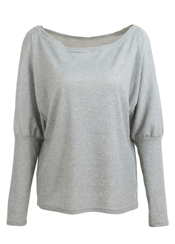 Women Loose T-shirt Ribbed Off Shoulder One Shoulder Asymmetric Round Neck Batwing Sleeve Casual Oversize PulloverApparel &amp; Jewelry<br>Women Loose T-shirt Ribbed Off Shoulder One Shoulder Asymmetric Round Neck Batwing Sleeve Casual Oversize Pullover<br>