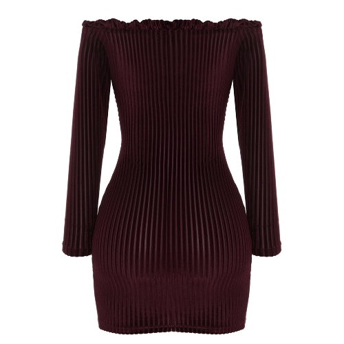 Sexy Women Velvet Ribbed Dress Lace Up Front Off the Shoulder Long Sleeve Hollow Out Slim Bodycon Bandage DressApparel &amp; Jewelry<br>Sexy Women Velvet Ribbed Dress Lace Up Front Off the Shoulder Long Sleeve Hollow Out Slim Bodycon Bandage Dress<br>