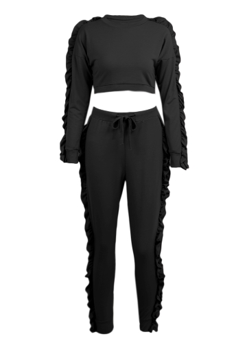 Women Two-Piece Set Ruffle Crop Top Long Pants O-Neck Long Sleeves Drawstring Casual Sportswear Top Trousers Black/PinkApparel &amp; Jewelry<br>Women Two-Piece Set Ruffle Crop Top Long Pants O-Neck Long Sleeves Drawstring Casual Sportswear Top Trousers Black/Pink<br>