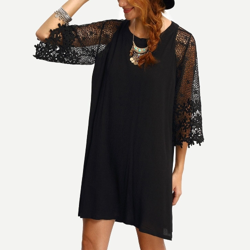 Women Loose Dress Sheer Lace Cut Out 3/4 Sleeve Casual Short Dress Solid Mini Dress Plus Size Vestidos BlackApparel &amp; Jewelry<br>Women Loose Dress Sheer Lace Cut Out 3/4 Sleeve Casual Short Dress Solid Mini Dress Plus Size Vestidos Black<br>