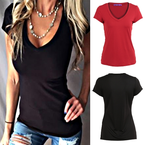 New Fashion Women Solid T-Shirt Deep V-Neck Short Sleeve Slim Waist Tees Top Black/BurgundyApparel &amp; Jewelry<br>New Fashion Women Solid T-Shirt Deep V-Neck Short Sleeve Slim Waist Tees Top Black/Burgundy<br>