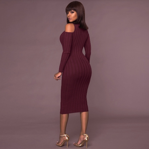 Women Cold Shoulder Midi Dress Turtleneck Long Sleeve Solid Bodycon Casual Party Off Shoulder Pencil DressApparel &amp; Jewelry<br>Women Cold Shoulder Midi Dress Turtleneck Long Sleeve Solid Bodycon Casual Party Off Shoulder Pencil Dress<br>