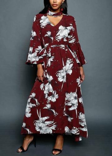 Women Chiffon Maxi Dress Floral Print Cut Out V-Neck Chocker Flare Sleeve Long Dress Black/Burgundy