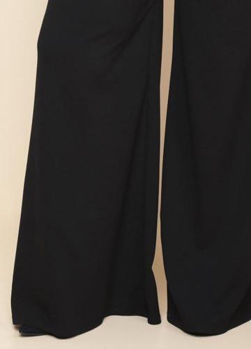 Fashion Women Plus Size Wide Leg Pants Solid Color Side Pockets High Waist Trousers Black/BurgundyApparel &amp; Jewelry<br>Fashion Women Plus Size Wide Leg Pants Solid Color Side Pockets High Waist Trousers Black/Burgundy<br>
