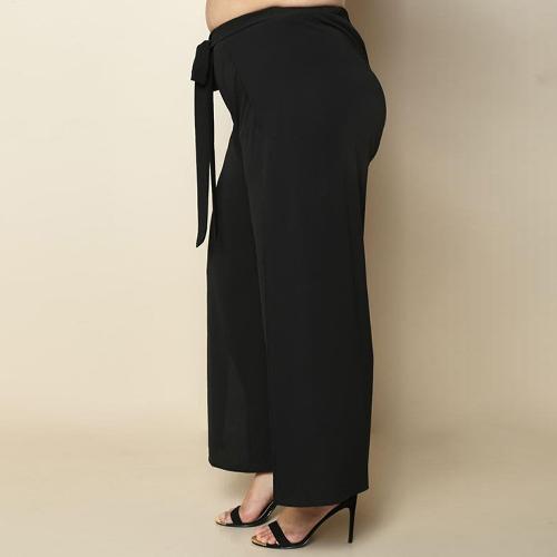 Women Plus Size Wide Leg Pants Side Split Tie High Waist Casual Loose Trousers Long Culottes Pants BlackApparel &amp; Jewelry<br>Women Plus Size Wide Leg Pants Side Split Tie High Waist Casual Loose Trousers Long Culottes Pants Black<br>