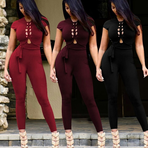 New Sexy Women Lace Up Bodycon Jumpsuit Backless Short Sleeves Clubwear Party Romper Playsuit with BeltApparel &amp; Jewelry<br>New Sexy Women Lace Up Bodycon Jumpsuit Backless Short Sleeves Clubwear Party Romper Playsuit with Belt<br>