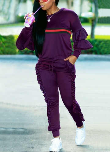 Fashion Women Two-Piece Set Striped Ruffled Top Drawstring Long Pants Long Sleeve Hoodies Casual SportswearApparel &amp; Jewelry<br>Fashion Women Two-Piece Set Striped Ruffled Top Drawstring Long Pants Long Sleeve Hoodies Casual Sportswear<br>