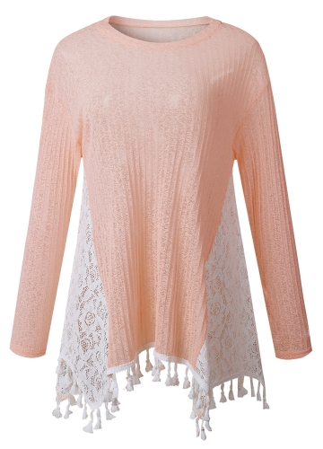 Causal Women T-Shirt Lace Splicing Tassel Fringe Detail O Neck Long Sleeves Irregular Hem Top PinkApparel &amp; Jewelry<br>Causal Women T-Shirt Lace Splicing Tassel Fringe Detail O Neck Long Sleeves Irregular Hem Top Pink<br>