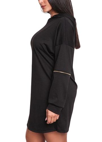 Women Plus Size Long Sweatshirt Hooded Dress Solid Long Sleeve Casual Slim Hoodies Mini Dress BlackApparel &amp; Jewelry<br>Women Plus Size Long Sweatshirt Hooded Dress Solid Long Sleeve Casual Slim Hoodies Mini Dress Black<br>