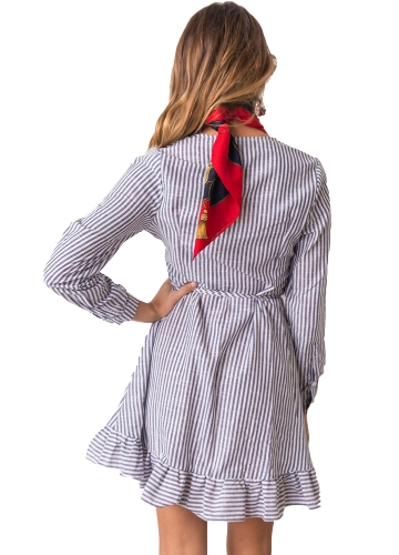 Women Dress Contrast Stripes Cross Over Deep V Drape Ruffle Long Sleeve Tie Casual One-Piece BlueApparel &amp; Jewelry<br>Women Dress Contrast Stripes Cross Over Deep V Drape Ruffle Long Sleeve Tie Casual One-Piece Blue<br>