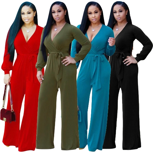 Sexy Women Jumpsuit Deep V-Neck Long Sleeves Belt Wide Legs Solid Elegant Casual Long Romper Body SuitsApparel &amp; Jewelry<br>Sexy Women Jumpsuit Deep V-Neck Long Sleeves Belt Wide Legs Solid Elegant Casual Long Romper Body Suits<br>