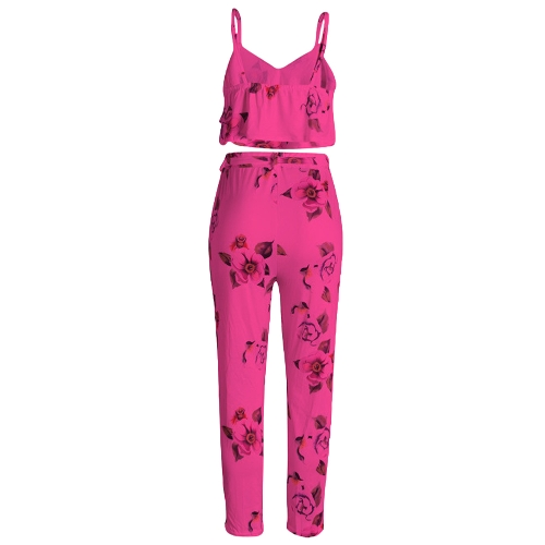Women Summer Two Piece Set Floral Printed Spaghetti Strap Double Ruffles Crop Tops &amp; Long Pants SetsApparel &amp; Jewelry<br>Women Summer Two Piece Set Floral Printed Spaghetti Strap Double Ruffles Crop Tops &amp; Long Pants Sets<br>