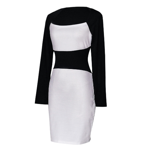 New Sexy Women Pencil Dress Square Neck Long Sleeves Color Block Clubwear Evening Party Dress White/BurgundyApparel &amp; Jewelry<br>New Sexy Women Pencil Dress Square Neck Long Sleeves Color Block Clubwear Evening Party Dress White/Burgundy<br>