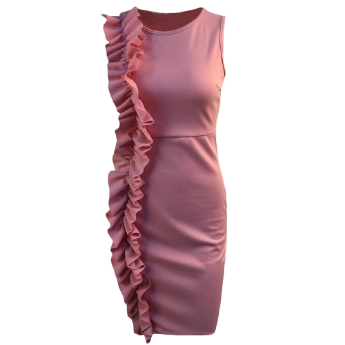 Women Pencil Dress Ruffle O-Neck Sleeveless Nightclub Party Bodycon Slim Midi Dress PinkApparel &amp; Jewelry<br>Women Pencil Dress Ruffle O-Neck Sleeveless Nightclub Party Bodycon Slim Midi Dress Pink<br>