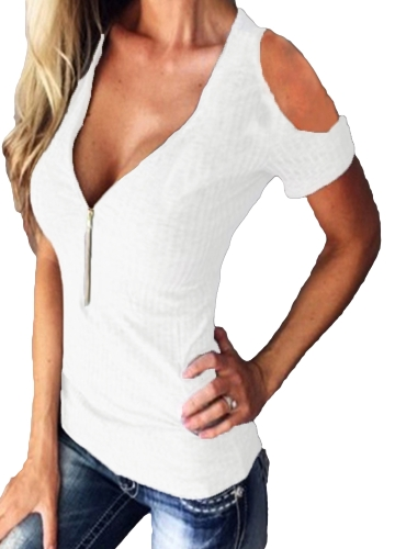 Women T-shirt Solid Stretchy Ribbed Deep V Cold Shoulder Zipper Short Sleeve Cut Out Slim Casual TopsApparel &amp; Jewelry<br>Women T-shirt Solid Stretchy Ribbed Deep V Cold Shoulder Zipper Short Sleeve Cut Out Slim Casual Tops<br>