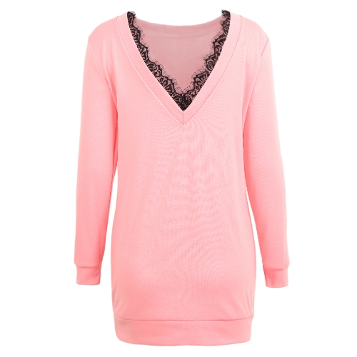 Women Casual V Backless Dress Eyelash Lace Splice Long Sleeve O Neck Mini DressApparel &amp; Jewelry<br>Women Casual V Backless Dress Eyelash Lace Splice Long Sleeve O Neck Mini Dress<br>