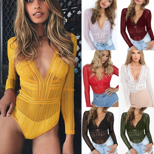New Women Sexy Bodysuit Sheer Lace Hollow Out Deep V Neck Long Sleeve Backless Tights Bodycon Jumpsuit RompersApparel &amp; Jewelry<br>New Women Sexy Bodysuit Sheer Lace Hollow Out Deep V Neck Long Sleeve Backless Tights Bodycon Jumpsuit Rompers<br>