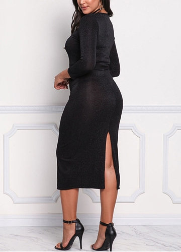 Women Bodycon Midi Dress 3/4 Sleeve Shining Slit Back Knitting Sheath Pencil Party Dress BlackApparel &amp; Jewelry<br>Women Bodycon Midi Dress 3/4 Sleeve Shining Slit Back Knitting Sheath Pencil Party Dress Black<br>