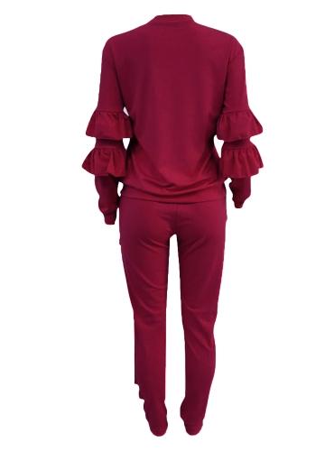Fashion Women Two-Piece Set Solid Ruffled Top Drawstring Long Pants Long Sleeve Hoodies Casual SportswearApparel &amp; Jewelry<br>Fashion Women Two-Piece Set Solid Ruffled Top Drawstring Long Pants Long Sleeve Hoodies Casual Sportswear<br>